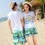 เสื้อคู่รัก ชุดคู่รักเที่ยวทะเลชาย +หญิง เสื้อยืดสีขาวคู่รักนอนอาบแดด กางเกงขาสั้นสีเขียว +พร้อมส่ง+ thumbnail 2
