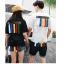แฟชั่นคู่รัก ชายเสื้อยืดคอกลม สีขาว + หญิง เสื้อคอกลม สีดำ แต่งแถบมุมขวา กับด้านหลัง +พร้อมส่ง+ thumbnail 18