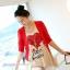 เสื้อยืดคลุมท้องพร้อมเสื้อกั้กสีแดง สกีนลายหัวใจ รหัส SH111 thumbnail 4