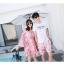 ชุดเสื้อคู่รักเที่ยวทะเล ชายเสื้อยืดพร้อมกางเกงขาสั้น + เดรสแขนยาว สีชมพู แต่งลายดอกไม้ +พร้อมส่ง สำเนา thumbnail 15