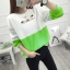 เสื้อแขนยาวแฟชั่นพร้อมส่ง เสื้อแขนยาวแต่งสีขาวสลับเขียว แต่งสกรีน ฝูงแมว +พร้อมส่ง+ thumbnail 3
