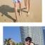 เสื้อคู่รัก ชุดคู่รักเที่ยวทะเลชาย +หญิง เสื้อยืดสีขาวลายคู่รักขับรถเที่ยวชายหาด กางเกงขาสั้นลายไทยโทนสีส้ม +พร้อมส่ง+ thumbnail 3