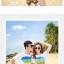 เสื้อคู่รัก ชุดคู่รักเที่ยวทะเลชาย +หญิง เสื้อยืดสีขาวลายแถบสี รองเท้า กางเกงขาสั้นลายแถบสีหลากสี +พร้อมส่ง+ thumbnail 3