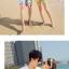 เสื้อคู่รัก ชุดคู่รักเที่ยวทะเลชาย +หญิง เสื้อยืดสีขาวลายคู่รักขับรถเที่ยวชายหาด กางเกงขาสั้นลายไทยโทนสีส้ม +พร้อมส่ง+ thumbnail 2