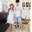 เสื้อคู่รัก แฟชั่นคู่รัก ชายเสื้อยืดคอกลม + เดรสคอกลม สีขาว แต่งลายไทย +พร้อมส่ง thumbnail 14