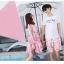 ชุดเสื้อคู่รักเที่ยวทะเล ชายเสื้อยืดพร้อมกางเกงขาสั้น + เดรสแขนยาว สีชมพู แต่งลายดอกไม้ +พร้อมส่ง สำเนา thumbnail 9