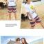 เสื้อคู่รัก ชุดคู่รักเที่ยวทะเลชาย +หญิง เสื้อยืดสีขาวลายยิ้ม I Love กางเกงขาสั้นลายแถบสี โทนสีรุ้ง +พร้อมส่ง+ thumbnail 4