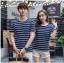 +พร้อมส่ง+ เสื้อคู่รักเกาหลี แฟชั่นคู่รัก ชายหญิง เสื้อยืดคอกลม ลายริ้ว สีน้ำเงินสลับขาว thumbnail 2