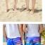 เสื้อคู่รัก ชุดคู่รักเที่ยวทะเลชาย +หญิง เสื้อยืดสีขาวลายสวีทริมทะเล กางเกงขาสั้นลายมะพร้าวโทนสีฟ้า +พร้อมส่ง+ thumbnail 6