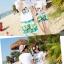 เสื้อคู่รัก ชุดคู่รักเที่ยวทะเลชาย +หญิง เสื้อยืดสีขาวลายคู่รักสวีทพระอาทิพย์ตกดิน กางเกงขาสั้นโทนสีเขียว +พร้อมส่ง+ thumbnail 5