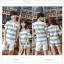 เสื้อคู่รัก ชายเสื้อแขนสั้น + หญิงเสื้อแขนสั้น พร้อมกางเกงขาสั้น แต่งลายเทาขาว +พร้อมส่ง+ thumbnail 7