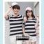 +พร้อมส่ง+ เสื้อคู่รักเกาหลี แฟชั่นคู่รัก ชายหญิง เสื้อยืดคอกลม ลายริ้วใหญ่ สีดำสลับขาว thumbnail 4