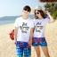 เสื้อคู่รัก ชุดคู่รักเที่ยวทะเลชาย +หญิง เสื้อยืดสีขาวลายแว่นตา กางเกงขาสั้นลายมะพร้าวโทนสีฟ้า +พร้อมส่ง+ thumbnail 2