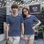 +พร้อมส่ง+ เสื้อคู่รักเกาหลี แฟชั่นคู่รัก ชายหญิง เสื้อยืดคอกลม ลายริ้ว สีน้ำเงินสลับขาว thumbnail 3