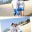 เสื้อคู่รัก ชุดคู่รักเที่ยวทะเลชาย +หญิง เสื้อยืดสีขาวคู่รักนอนอาบแดด กางเกงขาสั้นลายต้นมะพร้าวโทนสีฟ้า +พร้อมส่ง+ thumbnail 7