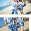 เสื้อคู่รัก ชุดคู่รักเที่ยวทะเลชาย +หญิง เสื้อยืดสีขาวลายสวีทริมทะเล กางเกงขาสั้นลายต้นมะพร้าวโทนสีฟ้า +พร้อมส่ง+ thumbnail 6
