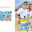 เสื้อคู่รัก ชุดคู่รักเที่ยวทะเลชาย +หญิง เสื้อยืดสีขาวลายคนนั่งมองดูนก กางเกงขาสั้นลายต้นมะพร้าว +พร้อมส่ง+ thumbnail 2