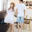 เสื้อคู่รัก แฟชั่นคู่รัก ชายเสื้อยืดคอกลม + เดรสคอกลม สีขาว แต่งลายไทย +พร้อมส่ง thumbnail 16