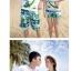 เสื้อคู่รัก ชุดคู่รักเที่ยวทะเลชาย +หญิง เสื้อยืดสีขาวคนนั่งใต้ต้นมะพร้าว กางเกงขาสั้นสีเขียว +พร้อมส่ง+ thumbnail 5