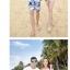 เสื้อคู่รัก ชุดคู่รักเที่ยวทะเลชาย +หญิง เสื้อยืดสีขาวลายหนวด กางเกงขาสั้นโทนสีกรมม่วง +พร้อมส่ง+ thumbnail 4