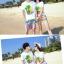 เสื้อคู่รัก ชุดคู่รักเที่ยวทะเลชาย +หญิง เสื้อยืดสีขาวลายต้นมะพร้าว กางเกงขาสั้นลายไทยโทนสีส้ม +พร้อมส่ง+ thumbnail 5