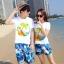 เสื้อคู่รัก ชุดคู่รักเที่ยวทะเลชาย +หญิง เสื้อยืดสีขาวลายต้นมะพร้าวลอยน้ำ กางเกงขาสั้นลายแฉกโทนสีฟ้า +พร้อมส่ง+ thumbnail 1