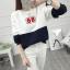 เสื้อแขนยาวแฟชั่นพร้อมส่ง เสื้อแขนยาวแต่งสีขาวสลับกรม แต่งสกรีนลาย 68 +พร้อมส่ง+ thumbnail 2