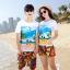 เสื้อคู่รัก ชุดคู่รักเที่ยวทะเลชาย +หญิง เสื้อยืดสีขาวลายคู่รักสวีทเที่ยวทะเล กางเกงขาสั้นลายพระอาทิตย์โทนสีส้ม +พร้อมส่ง+ thumbnail 1