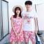 ชุดเสื้อคู่รักเที่ยวทะเล ชายเสื้อยืดพร้อมกางเกงขาสั้น + เดรสแขนกุด สีชมพู แต่งลายดอกไม้ +พร้อมส่ง thumbnail 11