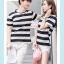 +พร้อมส่ง+ เสื้อคู่รักเกาหลี แฟชั่นคู่รัก ชายหญิง เสื้อยืดคอกลม ลายริ้วใหญ่ สีดำสลับขาว thumbnail 6