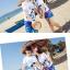 เสื้อคู่รัก ชุดคู่รักเที่ยวทะเลชาย +หญิง เสื้อยืดสีขาวลายสวีทริมทะเล กางเกงขาสั้นลายมะพร้าวโทนสีฟ้า +พร้อมส่ง+ thumbnail 3