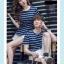 +พร้อมส่ง+ เสื้อคู่รักเกาหลี แฟชั่นคู่รัก ชายหญิง เสื้อยืดคอกลม ลายริ้ว สีน้ำเงินสลับขาว thumbnail 7