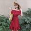 เสื้อผ้าแฟชั่นสไตส์เกาหลี เดรสเกาะอก สีแดง แต่งจั้มเอว +พร้อมส่ง+ thumbnail 1