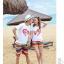 เสื้อคู่รัก ชุดคู่รักเที่ยวทะเลชาย +หญิง เสื้อยืดสีขาวลาย LO VE กางเกงขาสั้นลายแถบสีโทนสีรุ้ง +พร้อมส่ง+ thumbnail 5