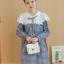 K96004 เสื้อคลุมท้องแฟชั่นเกาหลี ลายตาราง คอบัวแต่งด้วยผ้าลูกไม้ ใส่แล้วน่ารักมากๆ ค่ะ thumbnail 4
