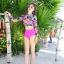 พร้อมส่ง ชุดว่ายน้ำแขนยาว เสื้อครอป ลายดอกไม้ สีชมพูสดใส บิกินี่เอวสูงสีพื้นเข้ากัน thumbnail 8