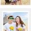 เสื้อคู่รัก ชุดคู่รักเที่ยวทะเลชาย +หญิง เสื้อยืดสีขาวลายยิ้ม I Love กางเกงขาสั้นลายแถบสี โทนสีรุ้ง +พร้อมส่ง+ thumbnail 2