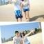 เสื้อคู่รัก ชุดคู่รักเที่ยวทะเลชาย +หญิง เสื้อยืดสีขาวคู่รักนอนอาบแดด กางเกงขาสั้นลายต้นมะพร้าวโทนสีฟ้า +พร้อมส่ง+ thumbnail 5
