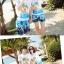 เสื้อคู่รัก ชุดคู่รักเที่ยวทะเลชาย +หญิง เสื้อยืดสีขาวลายคนติดเกาะ กางเกงขาสั้นลายต้นมะพร้าวโทนสีฟ้า +พร้อมส่ง+ thumbnail 4