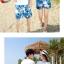 เสื้อคู่รัก ชุดคู่รักเที่ยวทะเลชาย +หญิง เสื้อยืดสีขาวลายแว่นตา กางเกงขาสั้นลายแฉกโทนสีฟ้า +พร้อมส่ง+ thumbnail 6