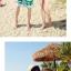 เสื้อคู่รัก ชุดคู่รักเที่ยวทะเลชาย +หญิง เสื้อยืดสีขาวลายคู่รักสวีทพระอาทิพย์ตกดิน กางเกงขาสั้นโทนสีเขียว +พร้อมส่ง+ thumbnail 7