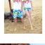 เสื้อคู่รัก ชุดคู่รักเที่ยวทะเลชาย +หญิง เสื้อยืดสีขาวลาย LO VE กางเกงขาสั้นลายต้นมะพร้าว +พร้อมส่ง+ thumbnail 3