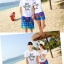 เสื้อคู่รัก ชุดคู่รักเที่ยวทะเลชาย +หญิง เสื้อยืดสีขาวลายแว่นตา กางเกงขาสั้นลายมะพร้าวโทนสีฟ้า +พร้อมส่ง+ thumbnail 6