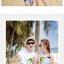 เสื้อคู่รัก ชุดคู่รักเที่ยวทะเลชาย +หญิง เสื้อยืดสีขาวคนนั่งใต้ต้นมะพร้าว กางเกงขาสั้นโทนสีกรมม่วง +พร้อมส่ง+ thumbnail 2