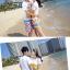 เสื้อคู่รัก ชุดคู่รักเที่ยวทะเลชาย +หญิง เสื้อยืดสีขาวลายคู่รักขับรถเที่ยวชายหาด กางเกงขาสั้นลายไทยโทนสีส้ม +พร้อมส่ง+ thumbnail 5