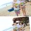 เสื้อคู่รัก ชุดคู่รักเที่ยวทะเลชาย +หญิง เสื้อยืดสีขาวลายต้นมะพร้าวลอยน้ำ กางเกงขาสั้นลายไทยโทนสีส้ม +พร้อมส่ง+ thumbnail 5