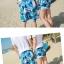 เสื้อคู่รัก ชุดคู่รักเที่ยวทะเลชาย +หญิง เสื้อยืดสีขาวลายสวีทริมทะเล กางเกงขาสั้นลายต้นมะพร้าวโทนสีฟ้า +พร้อมส่ง+ thumbnail 10