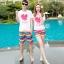 เสื้อคู่รัก ชุดคู่รักเที่ยวทะเลชาย +หญิง เสื้อยืดสีขาวลายหัวใจ กางเกงขาสั้นลายแถบสี โทนสีรุ้ง +พร้อมส่ง+ thumbnail 2