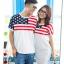 ชุดคู่ เสื้อคู่รัก ชายเสื้อยืด + หญิงเดรสจั้มเอว สีขาว แต่งลายธงชาติอเมริกา +พร้อมส่ง+ thumbnail 5