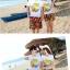 เสื้อคู่รัก ชุดคู่รักเที่ยวทะเลชาย +หญิง เสื้อยืดสีขาวลายต้นมะพร้าวลอยน้ำ กางเกงขาสั้นลายพระอาทิตย์โทนสีส้ม +พร้อมส่ง+ thumbnail 3